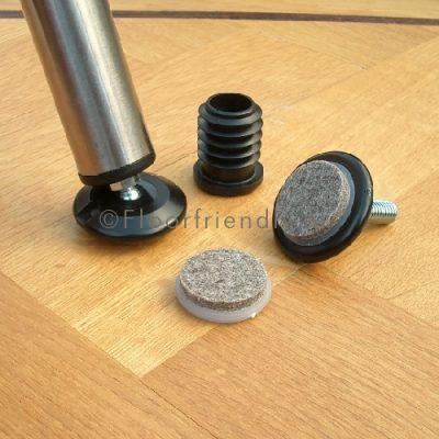 Viltdop voor stoelpoten, rond en schuin op de vloer - Floorfriendly.nl