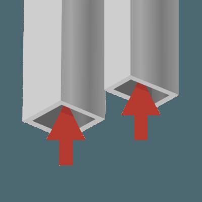 Vierkante stoelpoot recht op de vloer