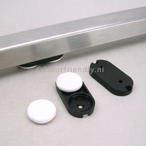 Stoelglijder ovaal voor vierkant buisframes, houten stoelpoot - Floorfriendly